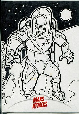 Mars Attacks Invasion Sketch Card By Chris McMillen