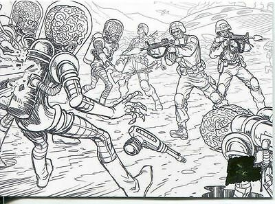 Mars Attacks Invasion Pencil Concept Art Parallel Base Card #44