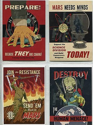 Mars Attacks Invasion Complete Parallel Graffiti Embossed Join The Fight Set 1-4