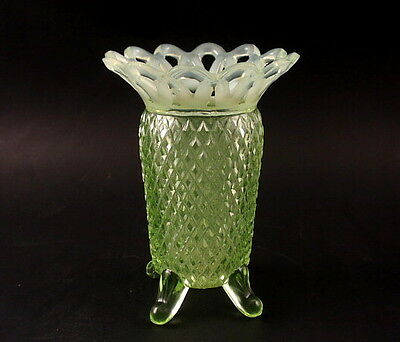 "Imperial Glass LACED EDGE ""Katy"" Green Opalescent 5"" Vase #743"