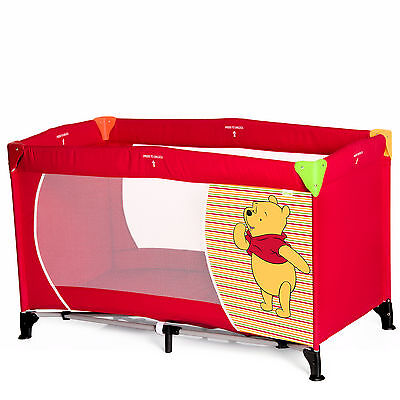 New Hauck Disney Dream N Play Baby Travel Cot / Playpen Pooh Springs Brights Red
