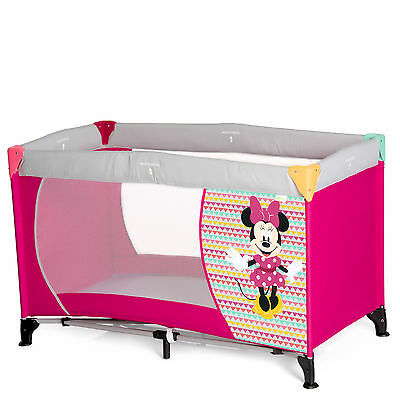 New Hauck Disney Dream N Play Baby Travel Cot / Portable Playpen Minnie Geo Pink