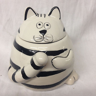 "Pier 1 Chubby Cat Sugar Bowl & Lid 3 1/2"" White With Black Stripes"
