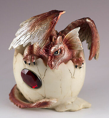 """Red Baby Dragon Hatching From Egg Figurine Hatchling 4"""" Detailed Resin NIB"""