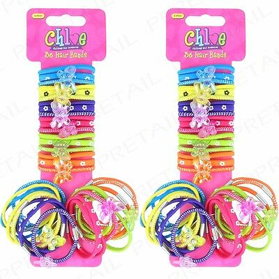 72Pc GIRLS ELASTIC HAIR BOBBLES/BANDS BUTTERFLY Rainbow Colourful Kids Gift Set