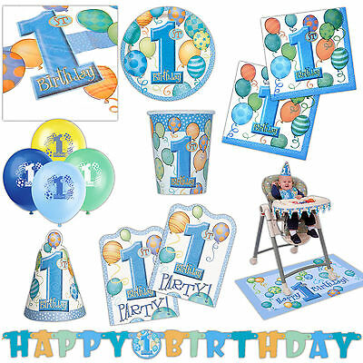 Unique Boy's Blue 1st Birthday Party Supplies Tableware Balloons Cups Listing