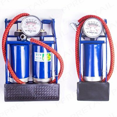 HEAVY DUTY SINGLE & DOUBLE BARREL FOOT PUMPS Bicycle/Bike/Car Air Bed Inflator