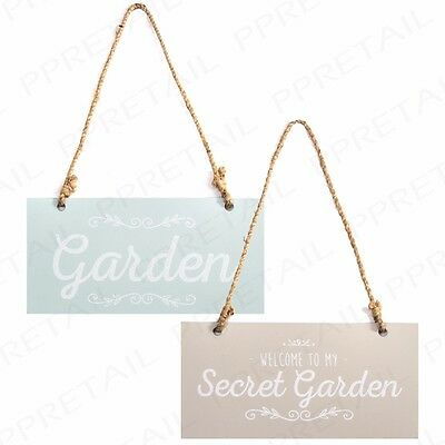 "Set Of 2 VINTAGE STYLE GARDEN PLAQUE 7"" x 3.5"" Cute Metal Gate/Fence Sign Hanger"