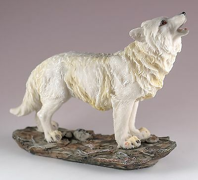 "Standing Wolf Howling Figurine Resin 5"" High - Highly Detailed - New In Box"