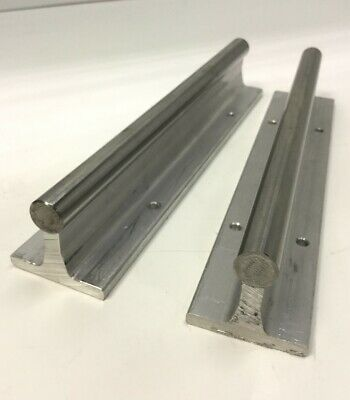"Lot of 2 Linear Shaft Continuously Supported Guide Rails 8"" Long, 1/2"" Diameter"