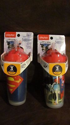 2 Playtex Sipsters DC SUPER HEROS STRAW CUP 9 Ounce 100% LEAK-PROOF 12M+