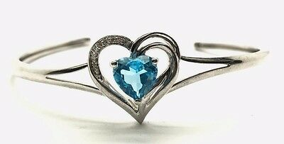 """Sterling Silver Swiss Topaz Rotary Heart Pendant Necklace 18/"""" Chain Gift Box K68"""
