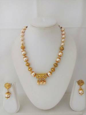 Indian Jewelry Mala Necklace Set Bollywood Ethnic Gold Plated Traditional Set