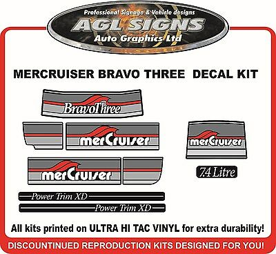 1986 - 1998 Mercury Bravo three  Outdrive Decal Kit   Mercruiser 7.4 Litre