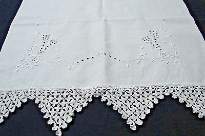 "Antique Early Vintage 47"" Long Embroidered Eyelet & Crochet Lace Table Runner"