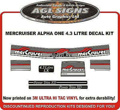 Mercury Alpha one 4.3 Litre LX  7 Piece Decal Kit  Mercruiser reproductions