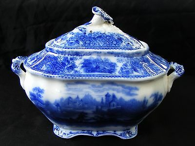Burgess Leigh Nonpareil Middleport Pottery England Flow Blue Sugar Bowl or Gravy