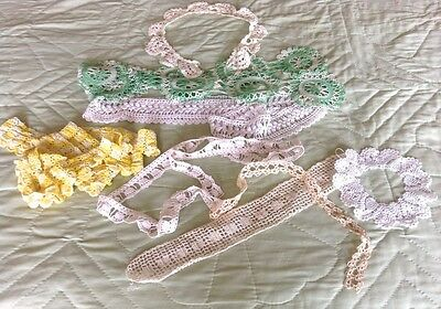 Vintage Lacy Crochet, Fabric Trims, 10 pieces, white, green, yellow, big & small