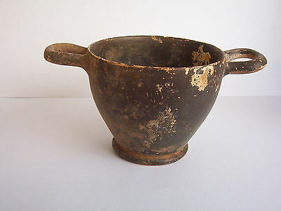 Ancient Greek Hellenistic pottery Skyphos 4th century B.C.