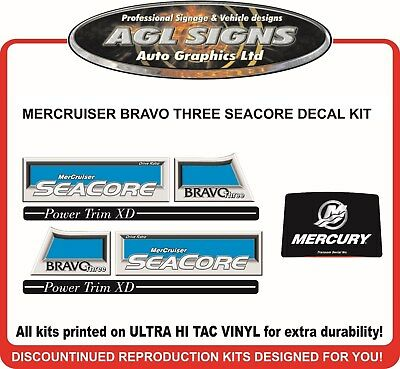 Mercury Bravo Three Seacore  Reproduction Decal Kit   Mercruiser