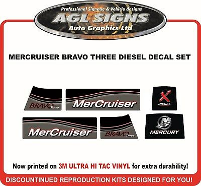 Mercury Bravo Three X Diesel Outdrive Decal Kit   Mercruiser