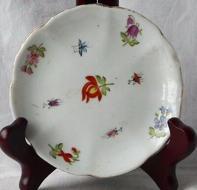 C19Th Sitzendorf Hand Painted Flower Encrusted Dish On Six Feet