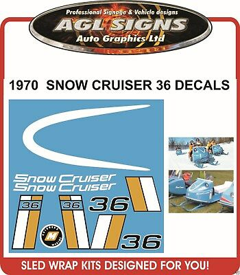 1972 Snow Cruiser Decals 36 ,  reproductions graphics 28 32 also available