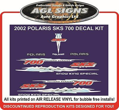 2002 POLARIS SKS 700  SNOW KING SPECIAL HOOD DECALS graphics reproduction