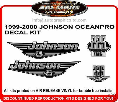 Johnson Ocean Pro 225 Decal Kit 1999 2000 Reproduction 150 200 250 Hp