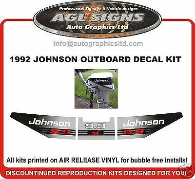 1992 Johnson  9.9 hp  Reproduction Decal kit   stickers