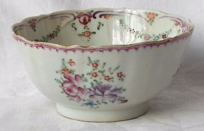 C18Th Chinese Famille Rose Bowl With A Floral Decoration A/f