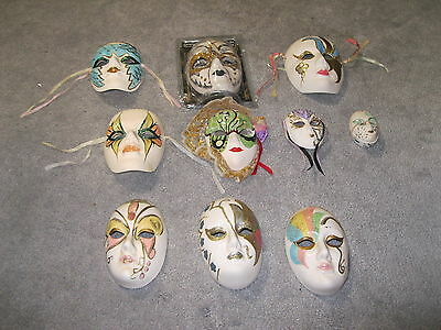 Huge 10 Ceramic Masquerade Wall Plagues In Different Sizes Good For Wall Hangers