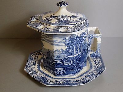 RARE Booths Old Danube blue & white China Tobacco Jar, Pipes Holder Matches Box