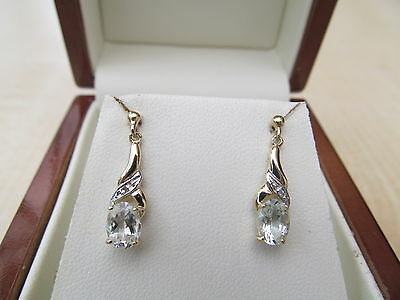 9ct yellow gold Aquamarine & Diamond drop Earrings *NEW*