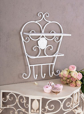 Vintage Hook rail Wall shelf in the scandinavian Country house style White