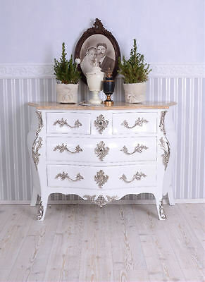 Baroque Dresser White Chest of Drawers Shabby France Marble Plate