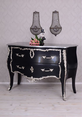 Rococo Chest Of Drawers Black Antique Silver Drawer Cabinet Baroque Kommode