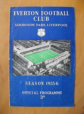 EVERTON v BOLTON WANDERERS 1955/1956 *VG Condition Football Programme*