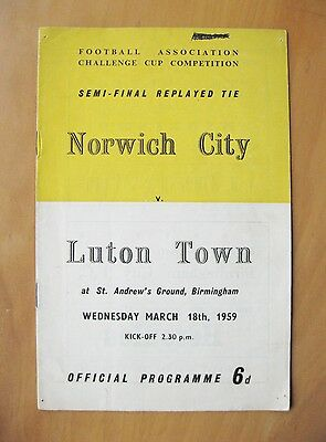 1959 FA Cup Semi-Final Replay LUTON TOWN v NORWICH CITY Good Condition Programme