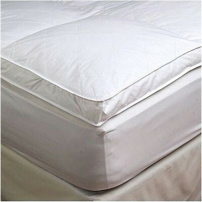 """2"""" Queen Goose Down Mattress Topper Featherbed / Feather Bed Baffled"""