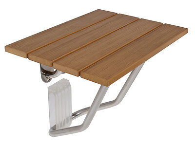 New Folding Bath Shower Bench Seat Stainless Steel Bracket Wall Mount Solid Wood