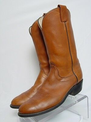 USA OLATHE Men 11.5-B Brown Thick Leather Western Horse Cowboy Boots