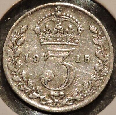 British Silver Threepence - 1915 - King George V - $1 Unlimited Ship