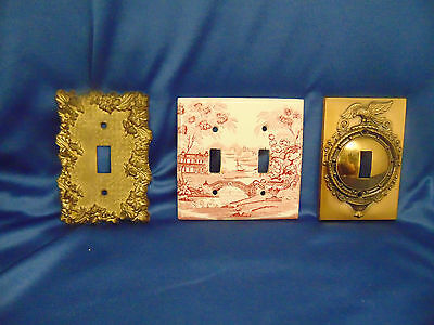 3 Light switch plates American eagle flowers one pink white double plate England