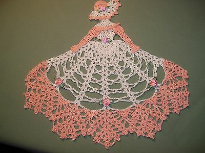 New Hand Crocheted Crinoline Lady Peaches and Cream  10 inches X10 inches