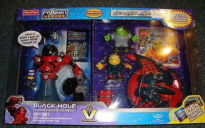 Fisher Price Planet Heroes Black Hole Professor Darkness Large Gift Set NEW DVD