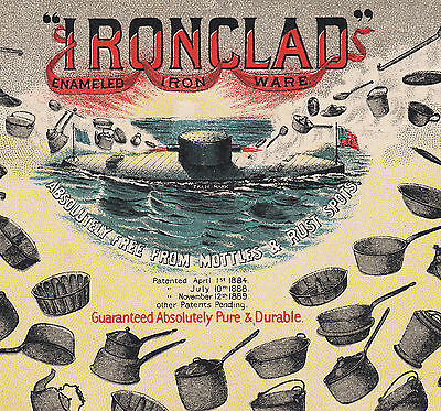 RARE - Iron Clad Enamel Kitchen Ware Nelly Bly NY Ironclad Ship Advertising Card