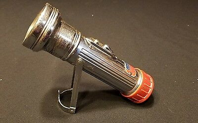 RARE VINTAGE ANTIQUE USA LITE RED HEAD FLASHLIGHT WITH STAND As Is