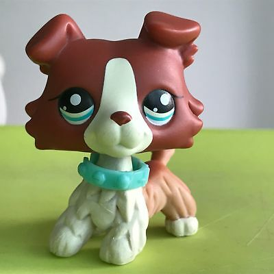 Littlest Pet Shop LPS Collie Dog #1542 White Red Figure Toy  Authentic Rare