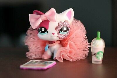 Littlest Pet Shop LPS Short Hair Cat 2291 Authentic Clear Peg + Accessories